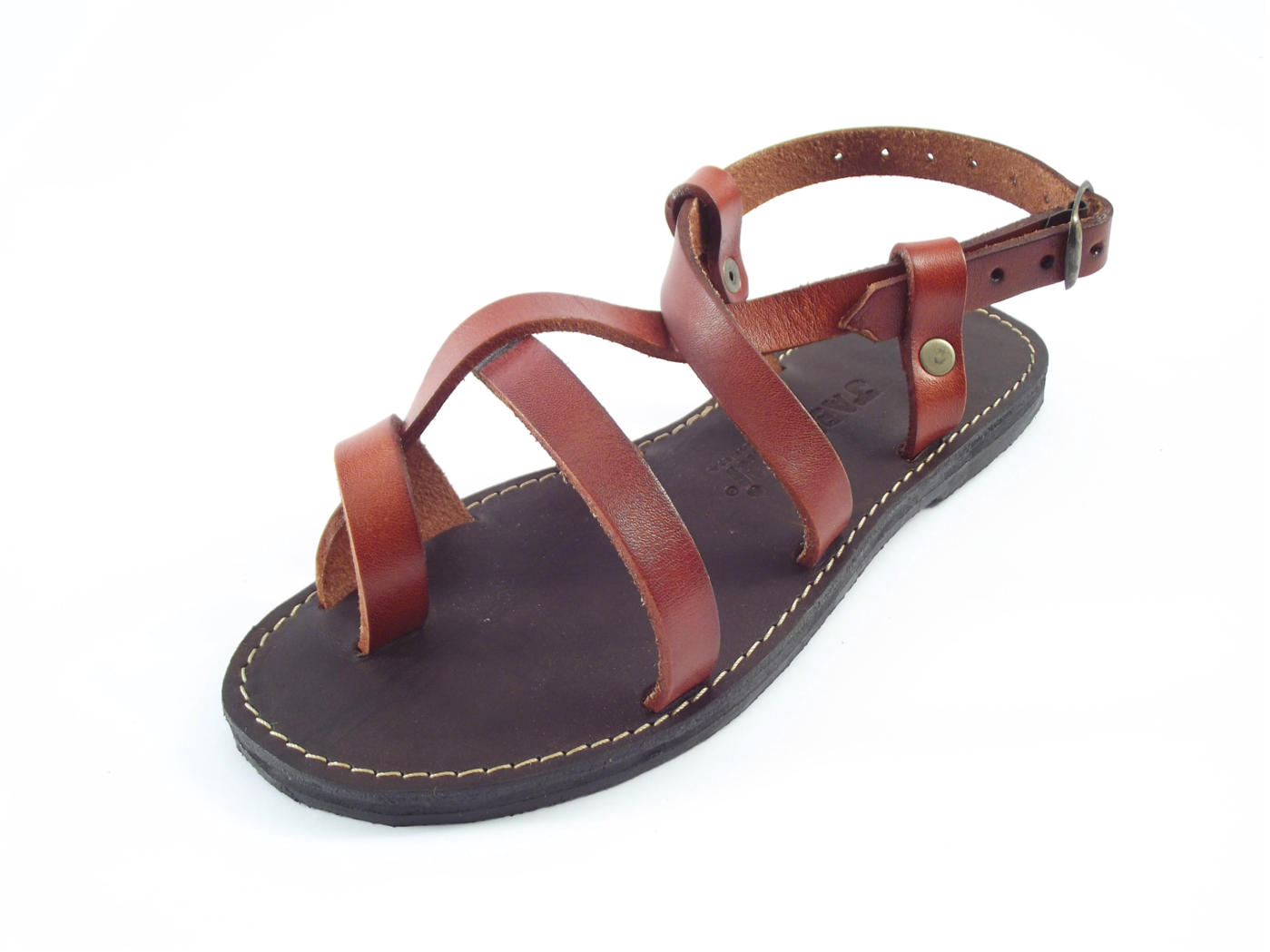 Genuine leather ankle strap flat