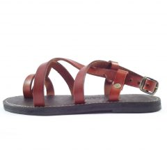 HP8067 Flower Power - genuine leather ankle strap flat sandals by Der Lederhandler