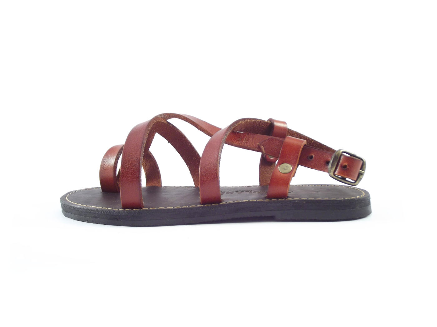 ed635b090 Genuine leather ankle strap flat sandals for women
