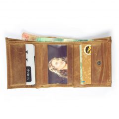 Wallet 3 Fold HPMW25NTKU - mens wallet with coin pocket in front in full-grain genuine leather by Der Lederhandler