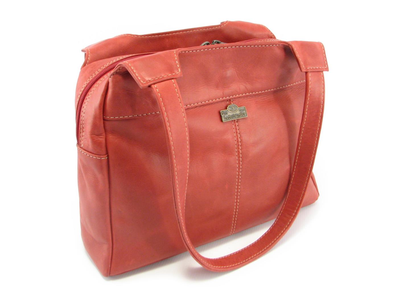 14beb42ce96a Double strap ladies leather shoulder handbag