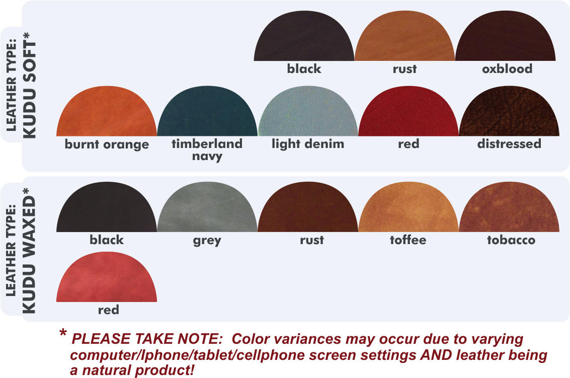leather types and color reference