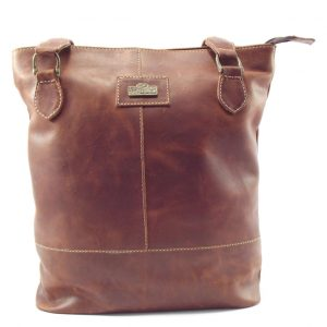 Linda Small HP7281 - small double sling tote leather handbag by Der Lederhandler