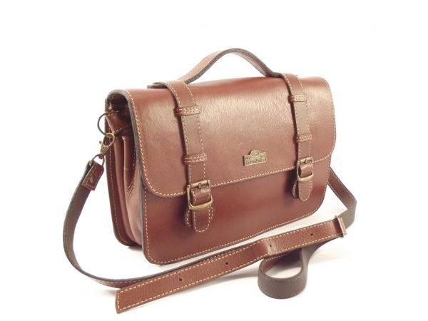 Sabine HP108 - durable leather crossbody satchel briefcase handbag by Der Lederhandler