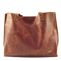 Sanita HP7263 - classic short strap shopper tote leather handbag by Der Lederhandler