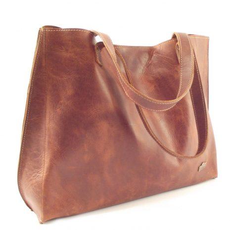 Sanita HP7263 - classic short strap shopper tote leather handbag by Der Lederhandler