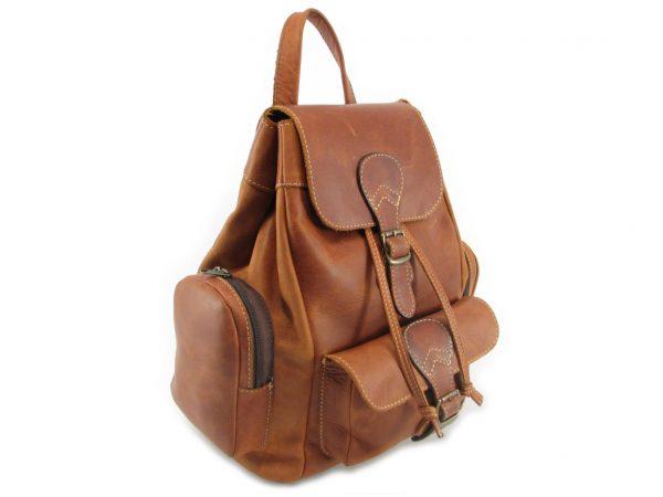 Hunters Rucksack No 2 HP7298 side leather backpack bags, Der Lederhandler, George, Western Cape