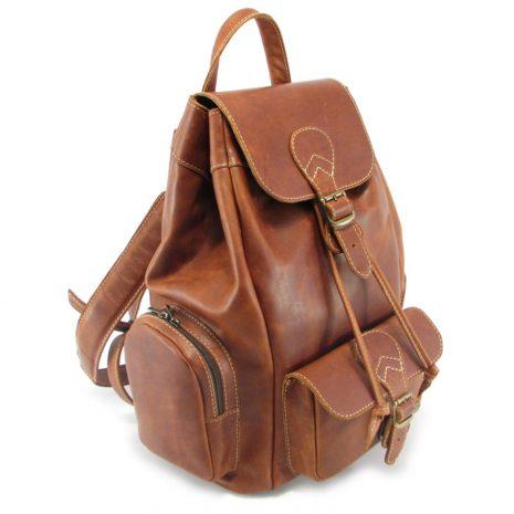 Hunters Rucksack No 3 HP7305 side leather backpack bags, Der Lederhandler, George, Western Cape