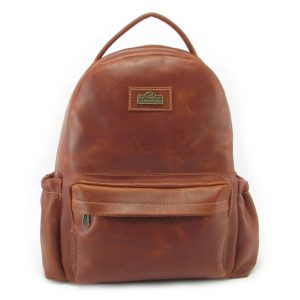Multi Backpack Medium + Side Pockets HP7313 front leather backpack bags, Der Lederhandler, George, Western Cape
