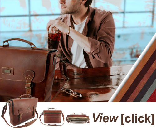 Anton, genuine leather laptop tech bag - Der Lederhandler - George, Western Cape