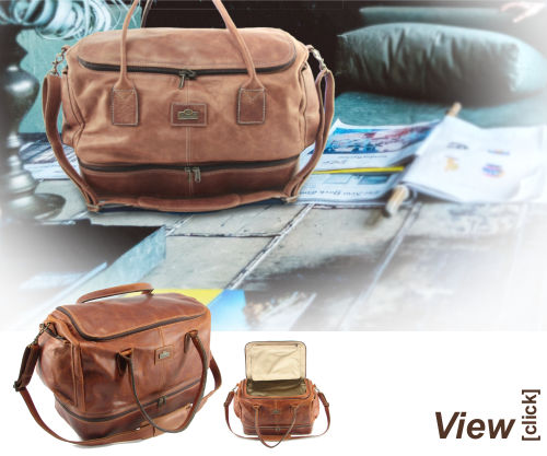 Travel chic full-grain leather travel bag by Der Lederhandler, George, Western Cape